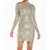 Vince Camuto Gold Womens Size 14 Shimmer Gathered  Sheath Dress