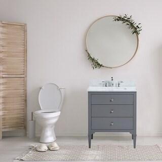 Link to 30 Inch Freestanding Grey Bathroom Vanity with White Carrara Marble Top Similar Items in Bathroom Vanities