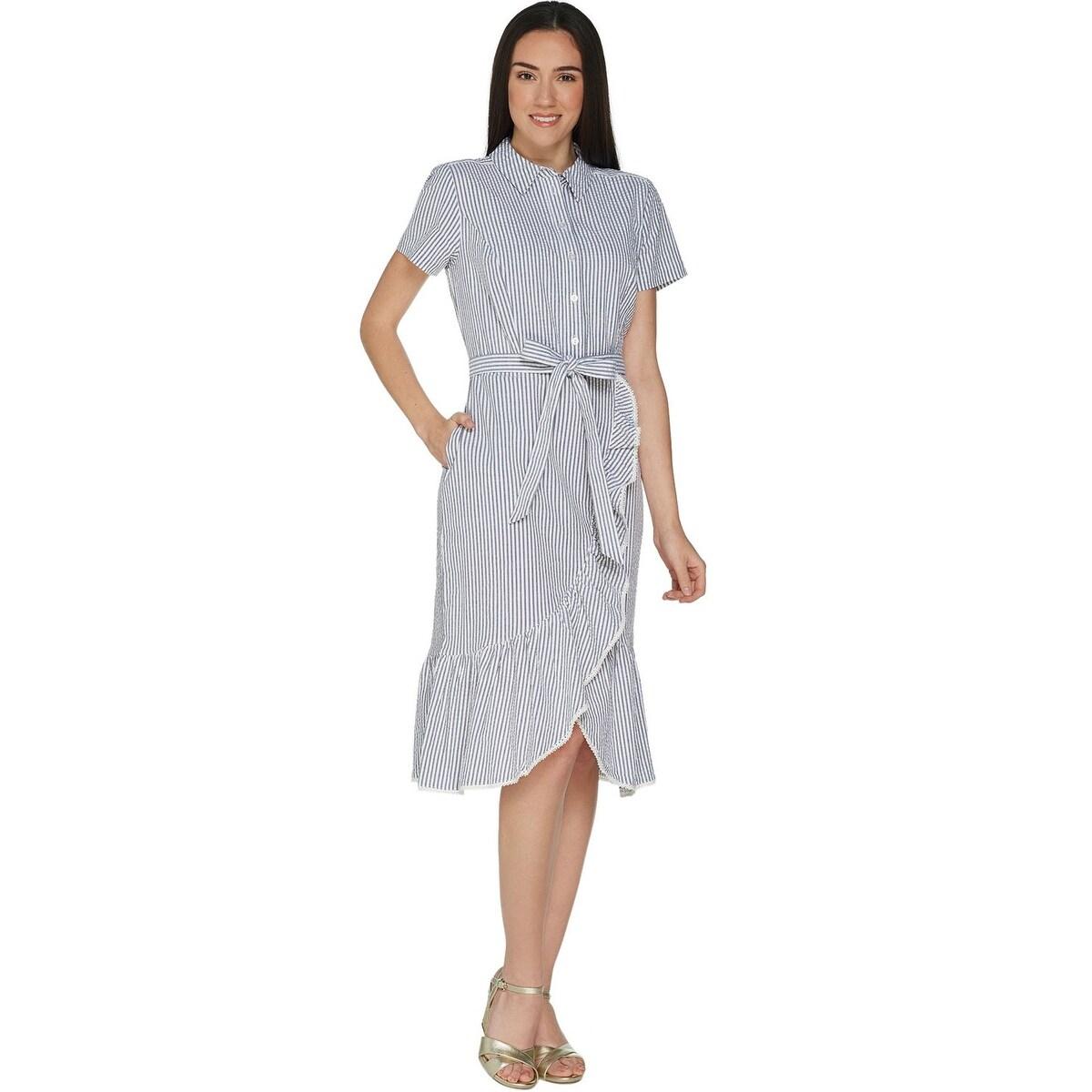 Shop Isaac Mizrahi Live Womens Seersucker Shirt Dress W Ruffle