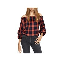 Sanctuary Womens Blouse Plaid Off The Shoulder