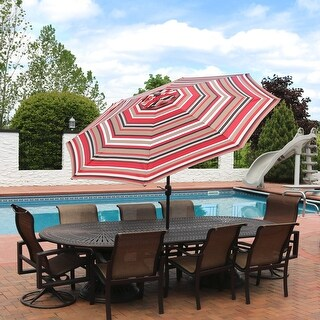 Sunnydaze 9-Foot Aluminum Patio Umbrella with Push Button Tilt - Awning Stripe