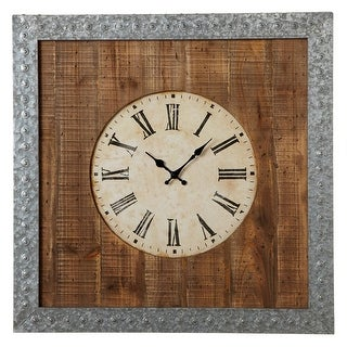 "28"" Brown and Grey Galvanized Wall Clock with Roman Numerals"