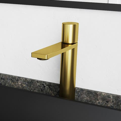 VIGO Gotham 1-Handle Single Hole Vessel Bathroom Faucet in Matte Brushed Gold