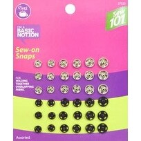 Assorted 36/Pkg - Dritz Sewing 101 Sew-On Snaps