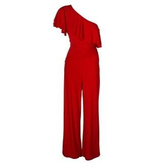 Lauren Ralph Lauren Parlor Red Wide-Leg One-Shoulder Ruffled Jumpsuit 8