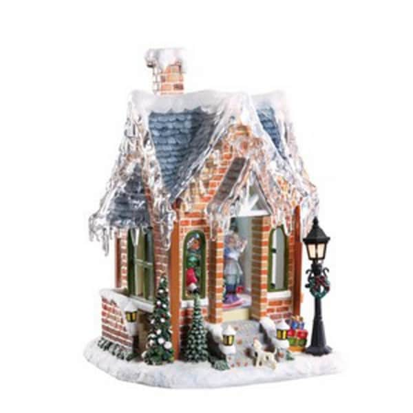 Pack of 2 Icy Crystal Animated Musical Gingerbread House Figurines 11.5""