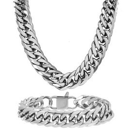Miami Cuban Link Bracelet & Necklace Set 30 Inch Stainless Steel Lobster Lock 370+grams