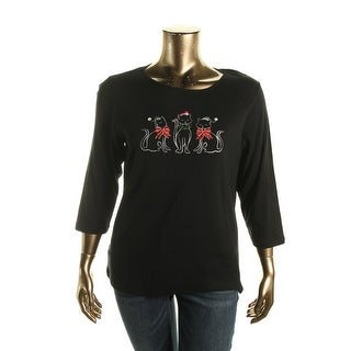 Karen Scott Womens Plus Kitty Pullover Top Metallic Graphic