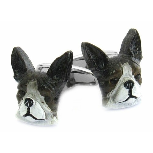 Painted Boston Terrier Dog Animal Cufflinks