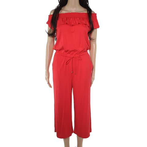 Lauren by Ralph Lauren Womens Jumpsuit Cherry Red Size Large L Ruched
