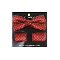 Men's Burgundy Pin Dot Banded Adjustable Bow Tie & Matching Pocket Round Set - One size
