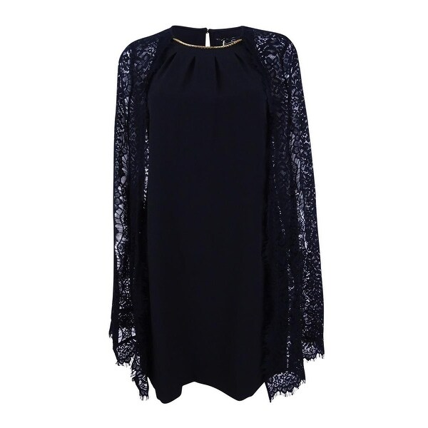Jessica Simpson Women's Lace Cape Dress (4, Black) - Black - 4