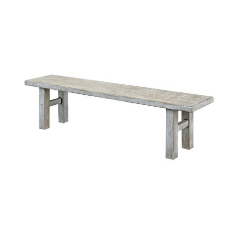 Amalfi Old Pine Wood Bench, 47 Inch Long, Antique Off White Finish