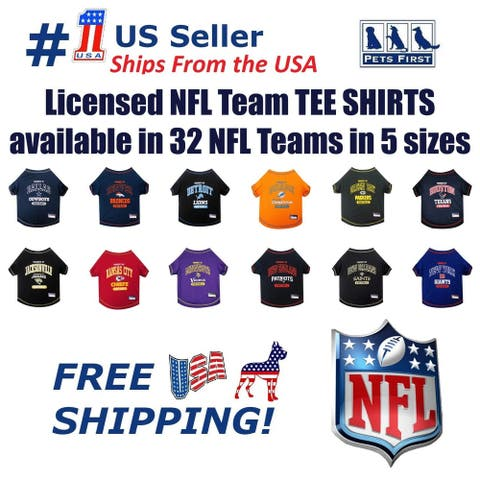 NFL Pet T-Shirt. Licensed, Wrinkle-free, Tee Shirt for Dogs/Cats. Football Shirt