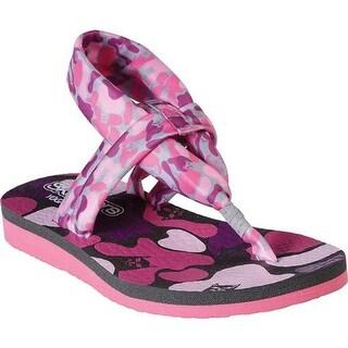 Skechers Girls' Meditation Kitty Zen Slingback Sandal Gray/Pink
