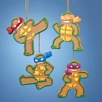"3.5"" Gingerbread Teenage Mutant Ninja Turtles Leonardo Christmas Ornament - brown"