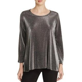 Nally & Millie Womens Pullover Top Metallic Scoop Neck