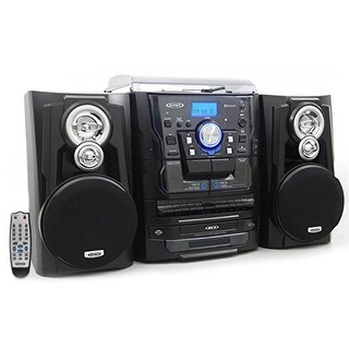 """JENSEN JENJMC1250B Jensen JMC-1250 Bluetooth 3-Speed Stereo Turntable and 3 CD Changer with Dual Cassette Deck"""