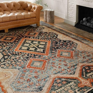 Alexander Home Luxe Ornate Antiqued Distressed Area Rug