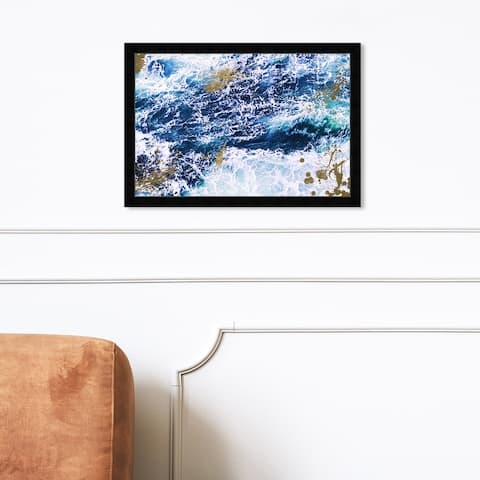 Oliver Gal 'Seas of Gold' Nautical and Coastal Framed Wall Art Prints Coastal - Blue, Gold