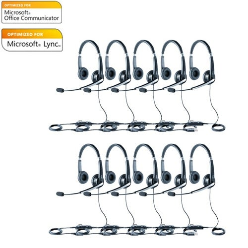 Jabra Voice 550 Duo Microsoft Optimized Stereo Corded Headset (10-Pack) w/ Noise Reduction System