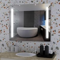 """Vanity Art 36"""" LED Lighted Illuminated Bathroom Vanity Wall Mirror with Rock Switch, Vertical Rectangle White Mirrors"""