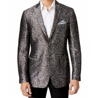 Tallia Orange NEW Silver Mens Size 38 Paisley Two Button Blazer
