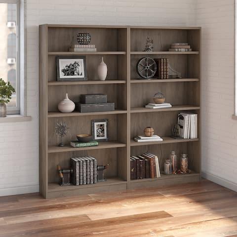 Bush Furniture Universal 5 Shelf Bookcase Set of 2