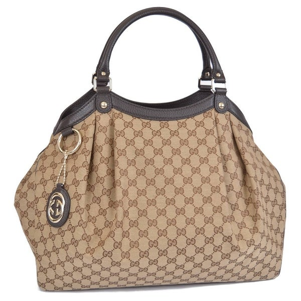 25d1f2b681bd Shop Gucci 364840 Large Brown Canvas GG Guccissima Sukey Purse Bag Tote -  Free Shipping Today - Overstock - 12074515