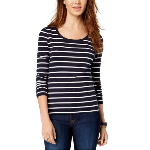 Tommy Hilfiger Womens Striped Basic T-Shirt, blue, Medium