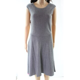 Eliza J NEW Gray Womens Size Large L Fit Flare Knitted Sweater Dress