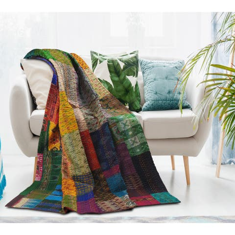 LR Home Traditional Patola Kantha Throw Blanket