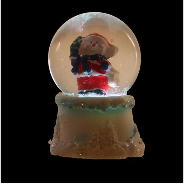 """2.75"""" Red and White Snowman Santa Claus LED Lighted Christmas Snow Globe Glitterdome"""