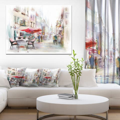 Illustrated Street Art Cityscape' Digital Art Cityscape Canvas Print