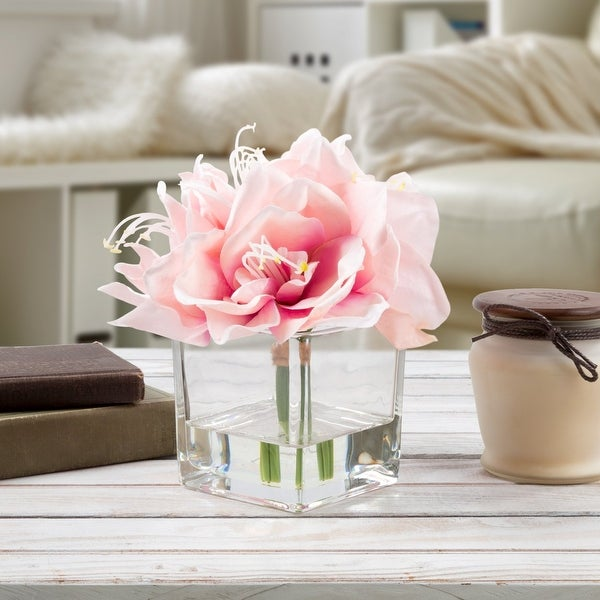 Faux Pink White Lily Floral Table Decor Centerpiece Glass Vase Artificial Water