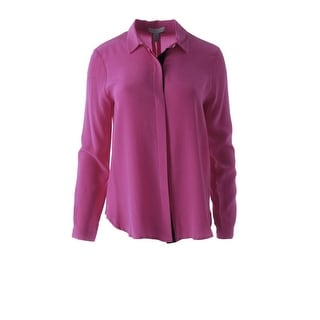 Dylan Gray Womens Silk Long Sleeves Button-Down Top - S