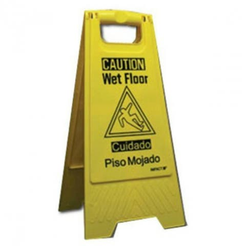"Impact Products 9152W-90 ""Caution Wet Floor"" Sign, English/Spanish, Yellow"