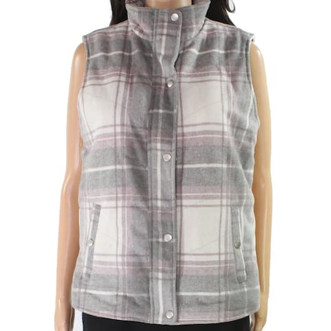 Thread & Supply Womens Jacket Gray Size Small S Vest Plaid Fleece-Lined