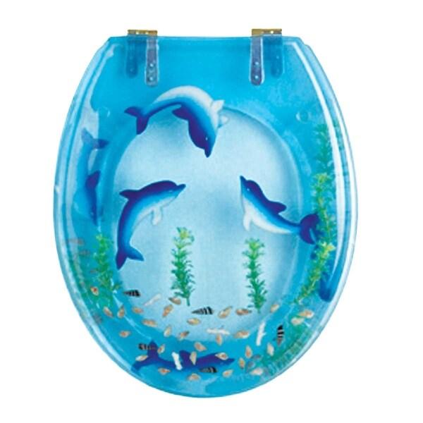 Polyresin Toilet Seat Dolphin Swim Standard Round Brass | Renovator's Supply
