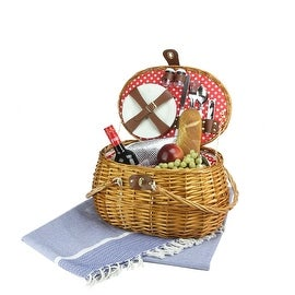 2-Person Hand Woven Honey Willow Polka Dotted Picnic Basket Set with Accessories
