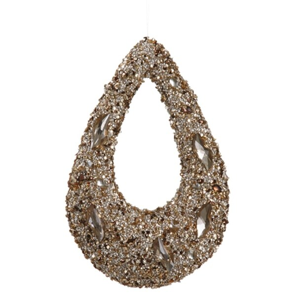 """11"""" Golden Encrusted Sequins and Jewels Hoop Christmas Ornament"""