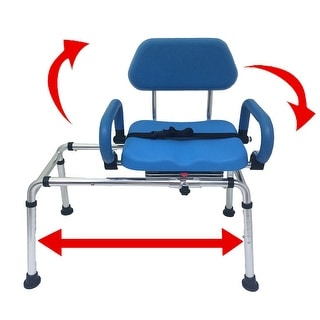 Platinum Health CAROUSEL Sliding Transfer Bench with Swivel Seat, Premium Padded Bath Shower Chair w/ Pivoting Arms