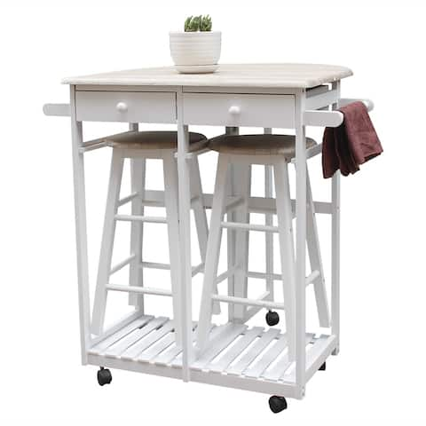 Foldable With Wooden Handle Semicircle Dining Cart