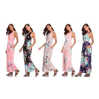 Floral Print Racerback Maxi Dress