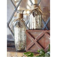 Pack of 4 Charming Mercury Glass Vases with Twine Bow and Leaf Charm 9""