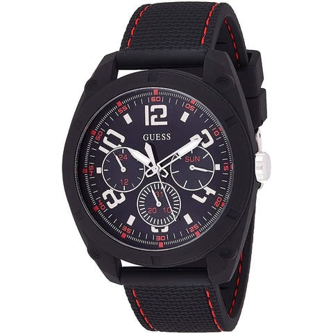 Guess Men's W1256G1 Dash Black Chronograph watch With Silicone Strap - 1 Size