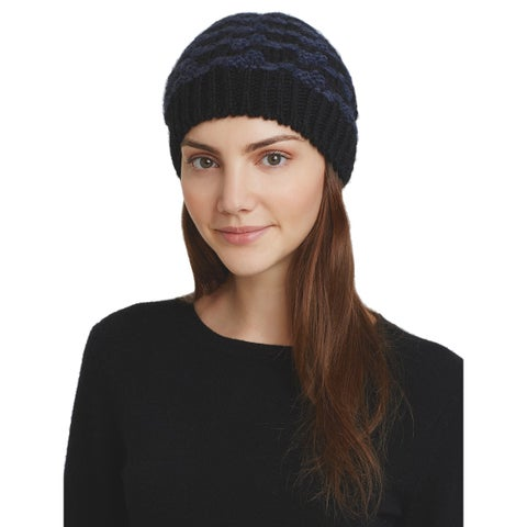 AQUA Ladies Black & Navy Blue Knit Houndstooth Beanie Made In Italy $58