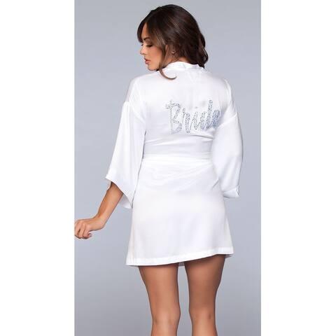 Bride Babe Satin Robe - White