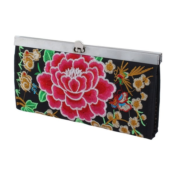 Women Lady Embroidered Flower Pattern Flip Lock Closure Wallet Purse Bag