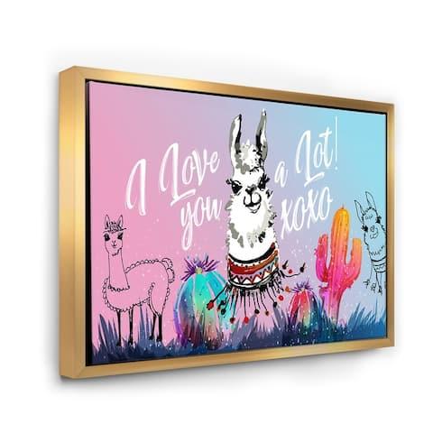 Designart 'I Love You A Lot Llama Cartoon' Children's Art Framed Canvas Wall Art Print